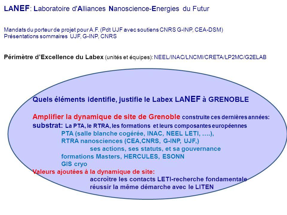 Quels éléments identifie, justifie le Labex LANEF à GRENOBLE