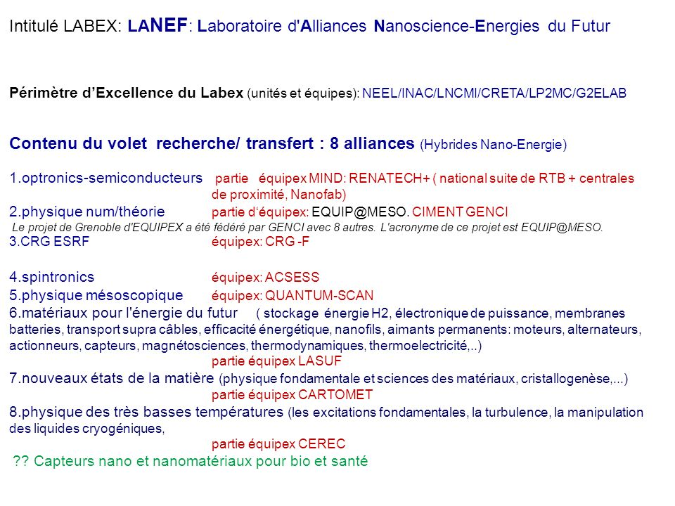 Intitulé LABEX: LANEF: Laboratoire d Alliances Nanoscience-Energies du Futur