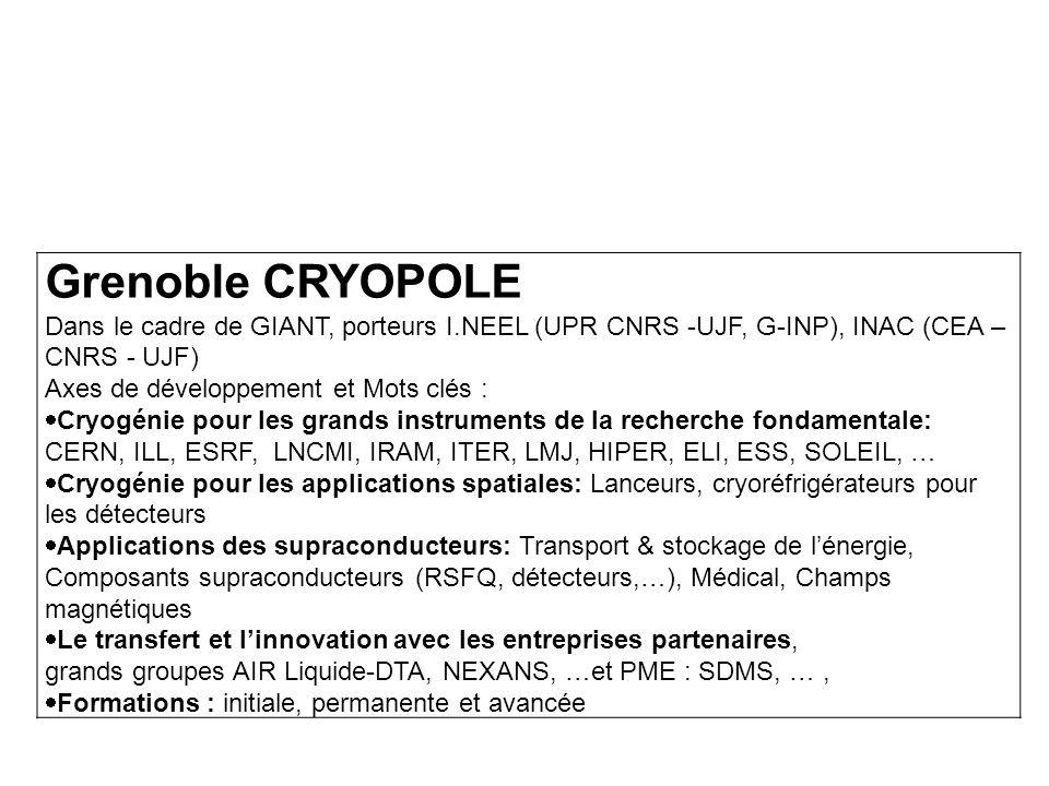 Grenoble CRYOPOLE Dans le cadre de GIANT, porteurs I.NEEL (UPR CNRS -UJF, G-INP), INAC (CEA – CNRS - UJF)