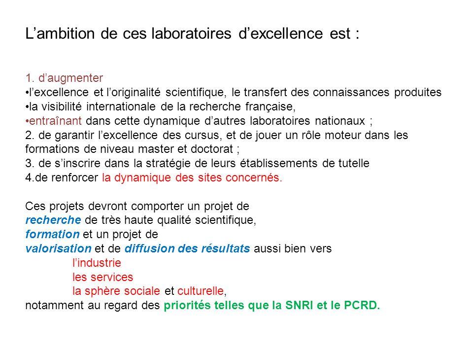 L'ambition de ces laboratoires d'excellence est :