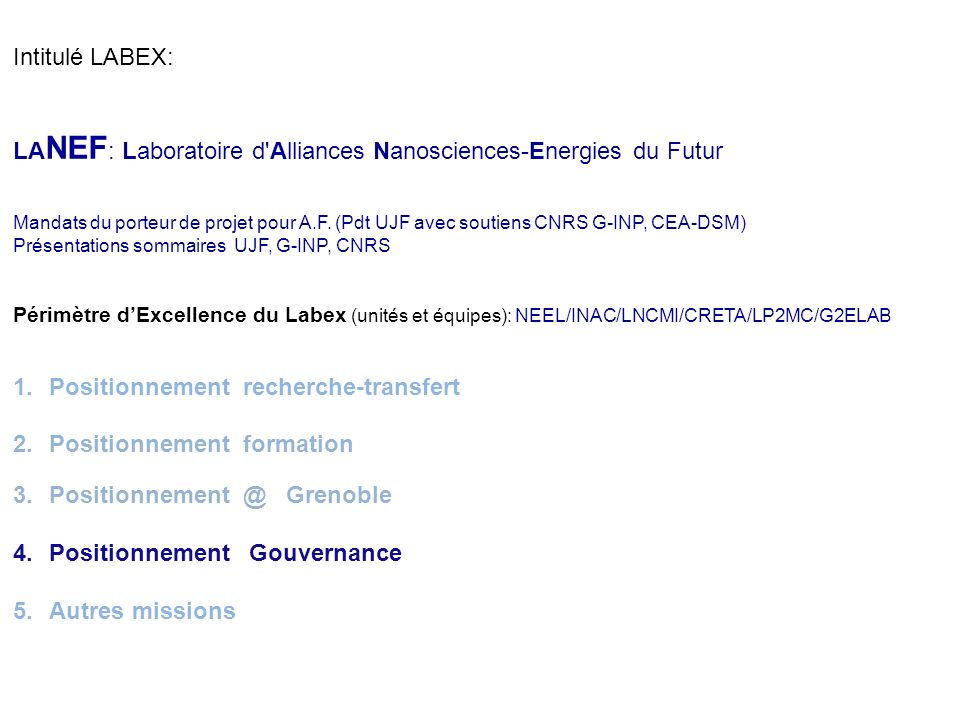 LANEF: Laboratoire d Alliances Nanosciences-Energies du Futur