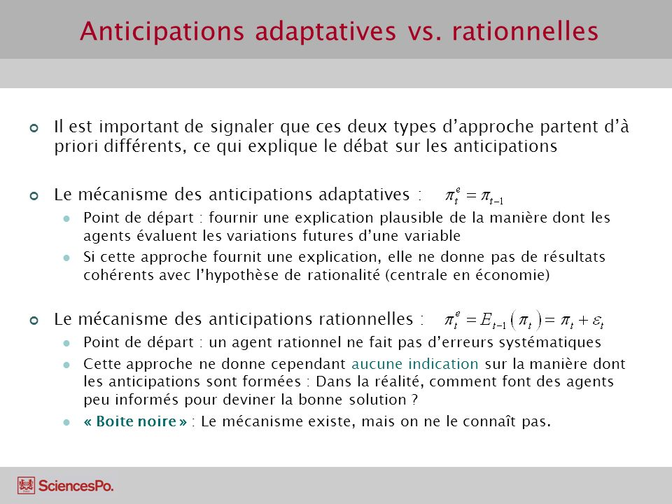 Anticipations adaptatives vs. rationnelles