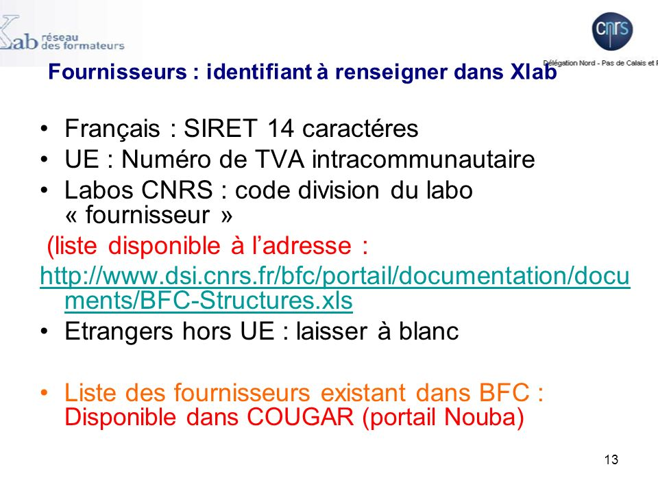 Fournisseurs : identifiant à renseigner dans Xlab