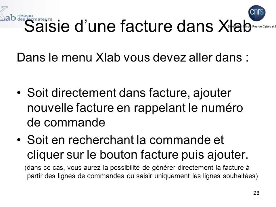 Saisie d'une facture dans Xlab