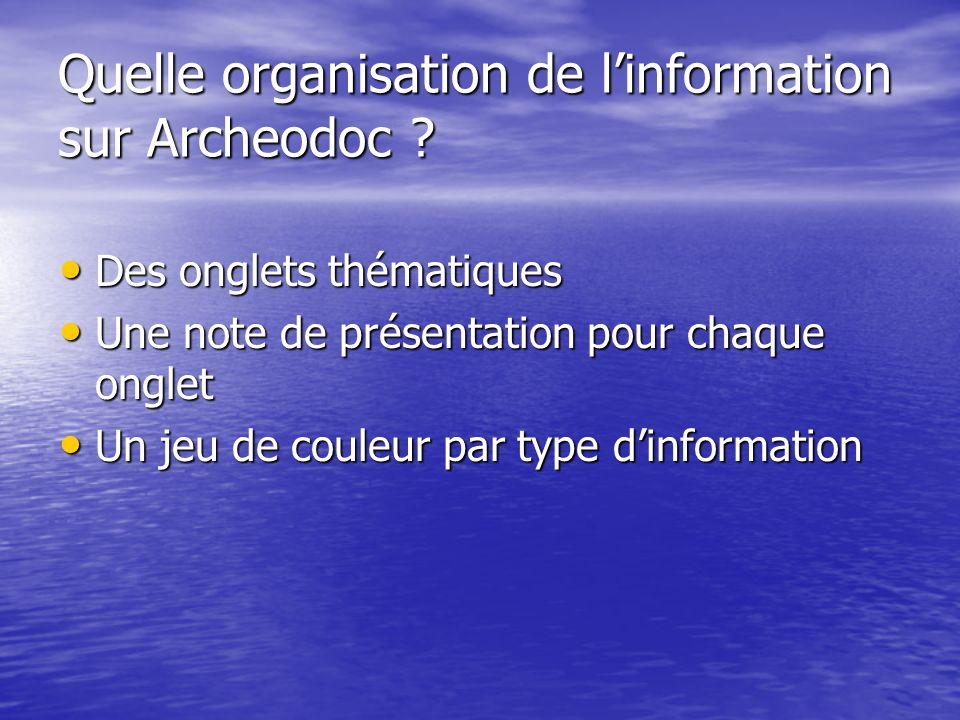 Quelle organisation de l'information sur Archeodoc