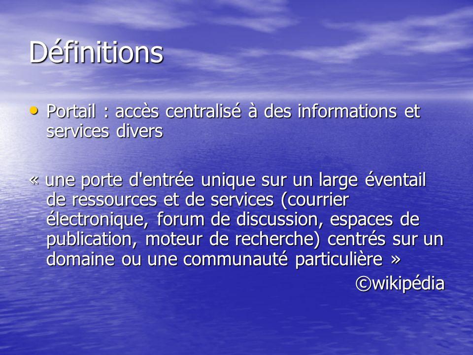 Définitions Portail : accès centralisé à des informations et services divers.