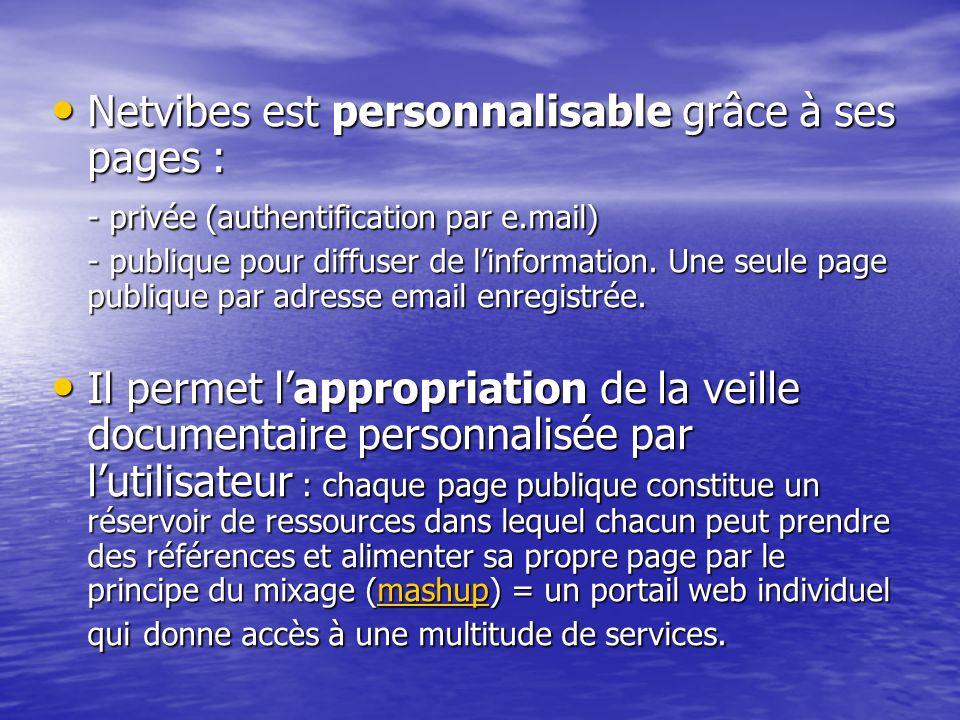 Netvibes est personnalisable grâce à ses pages :