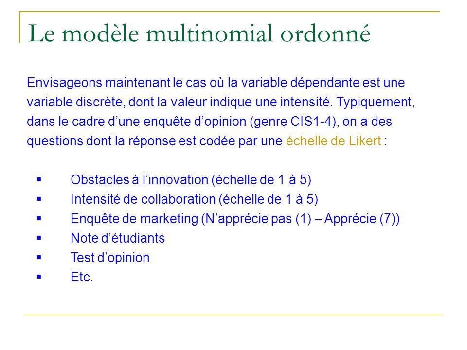Le modèle multinomial ordonné
