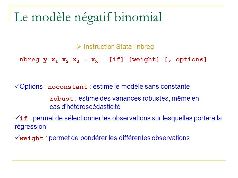 Le modèle négatif binomial