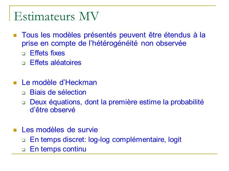 Estimateurs MVTous les modèles présentés peuvent être étendus à la prise en compte de l'hétérogénéité non observée.