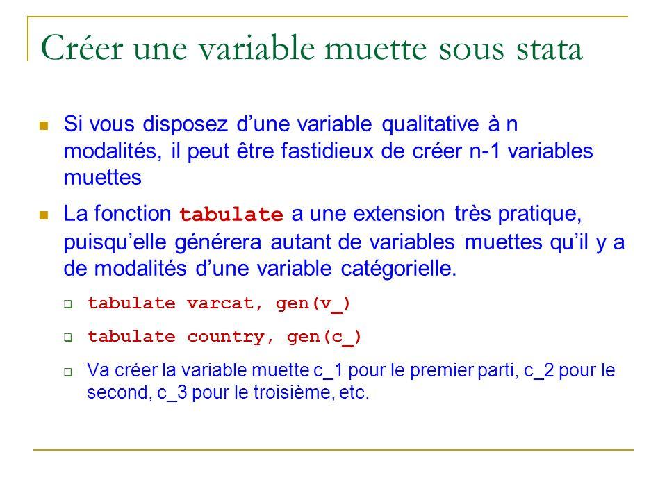Créer une variable muette sous stata
