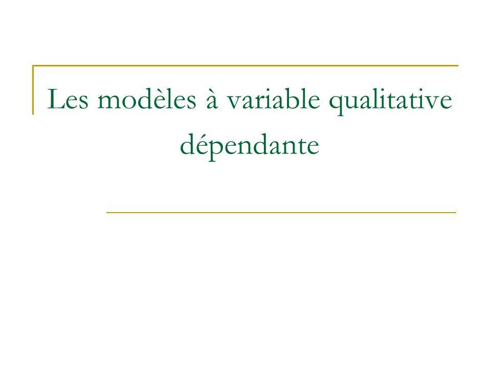Les modèles à variable qualitative dépendante