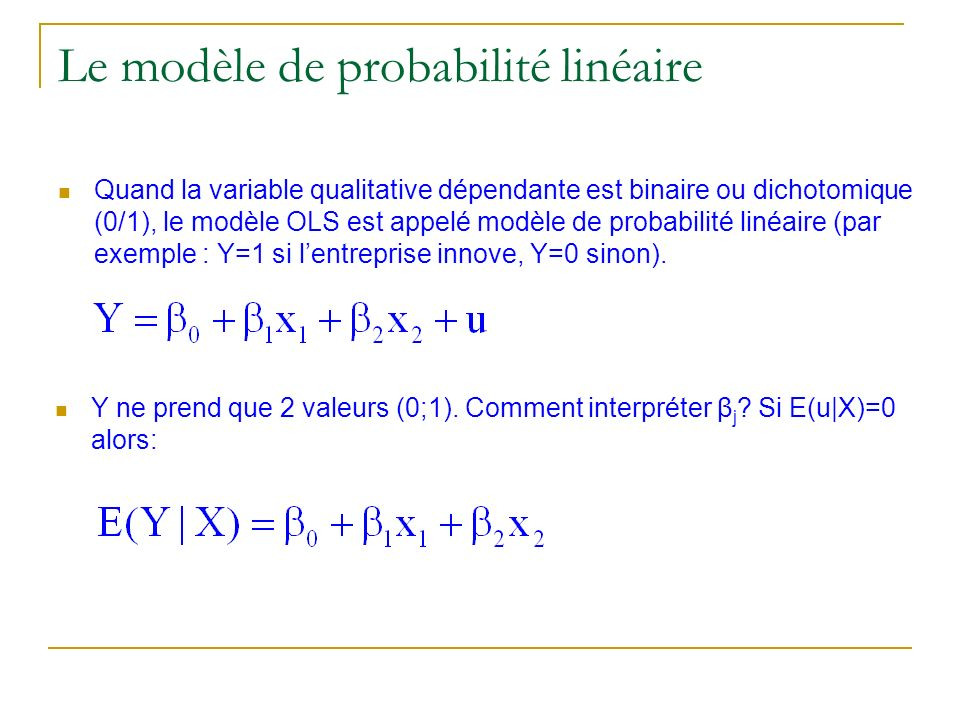 Le modèle de probabilité linéaire