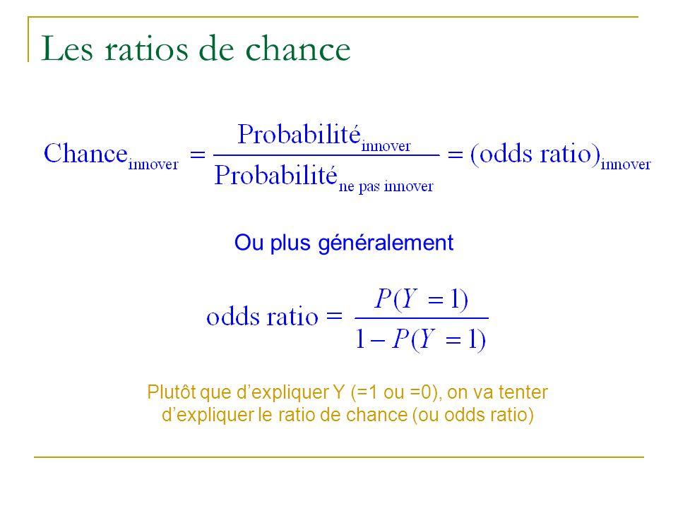 Les ratios de chance Ou plus généralement