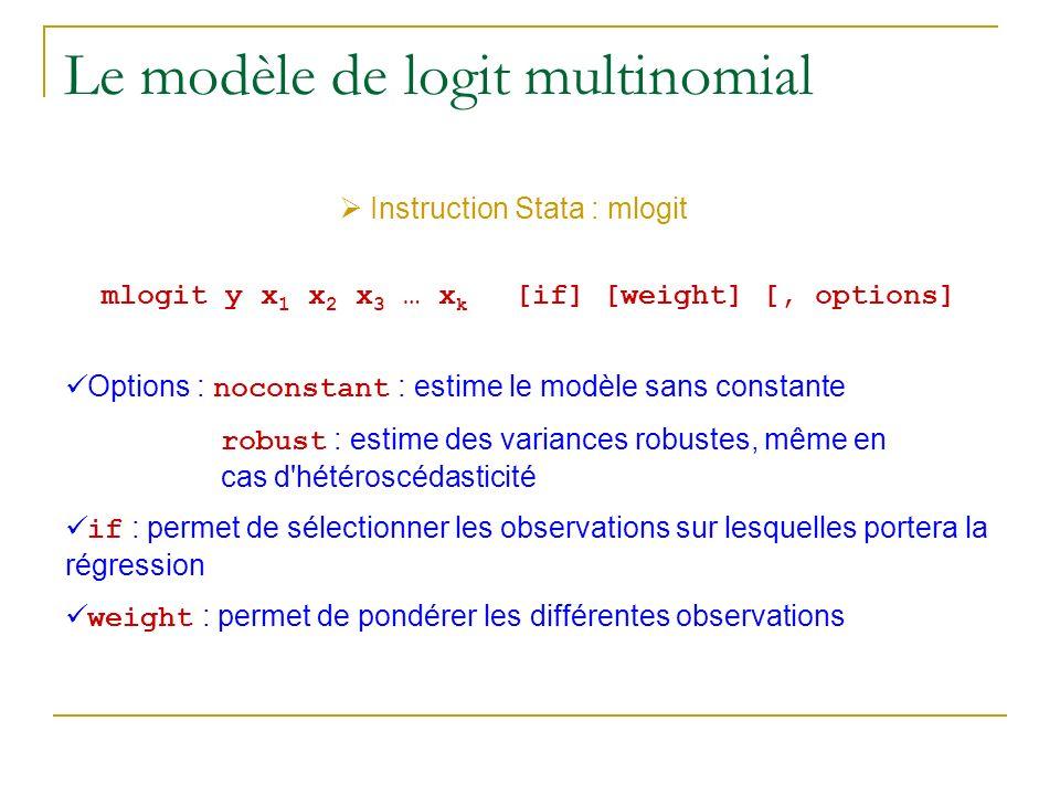 Le modèle de logit multinomial