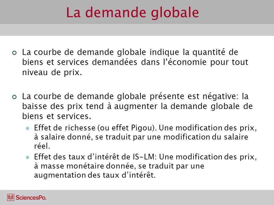 La demande globale La courbe de demande globale indique la quantité de biens et services demandées dans l'économie pour tout niveau de prix.