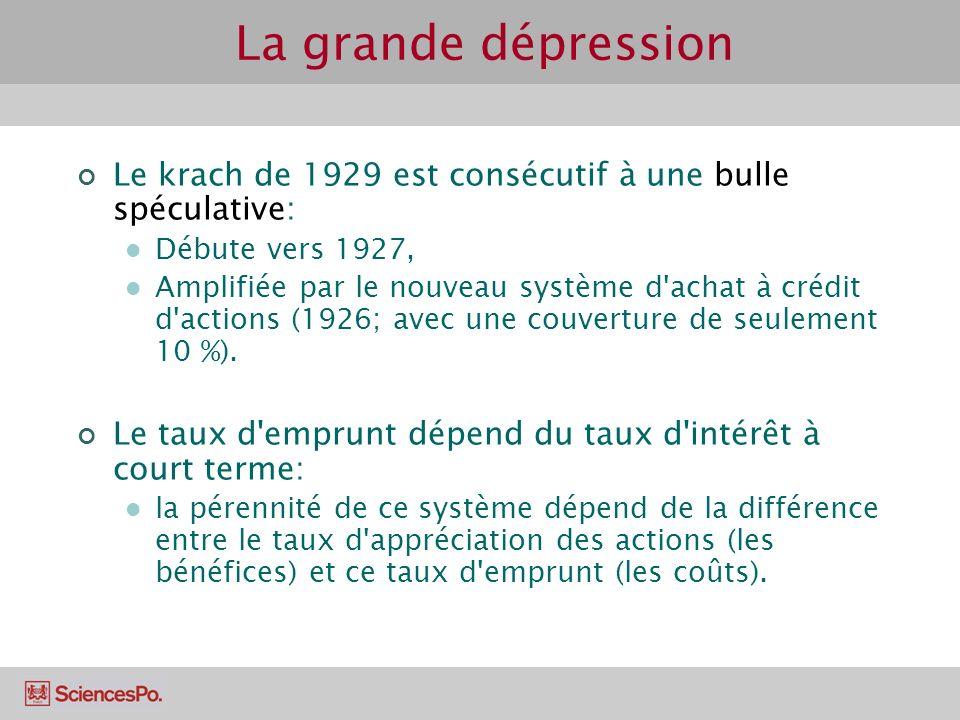 La grande dépression Le krach de 1929 est consécutif à une bulle spéculative: Débute vers 1927,