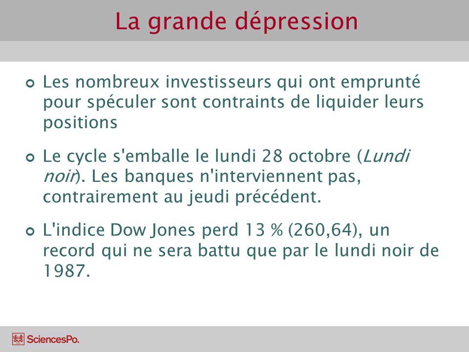 La grande dépression Les nombreux investisseurs qui ont emprunté pour spéculer sont contraints de liquider leurs positions.