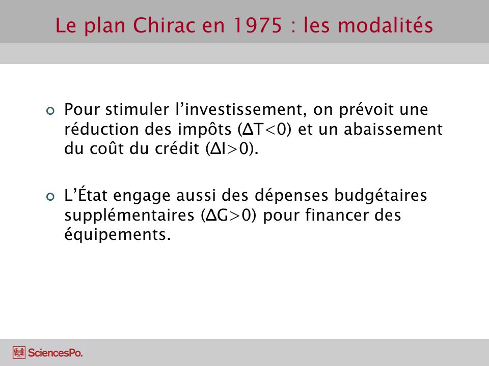 Le plan Chirac en 1975 : les modalités