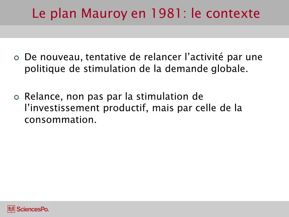 Le plan Mauroy en 1981: le contexte