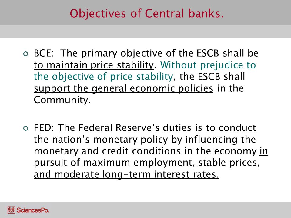 Objectives of Central banks.