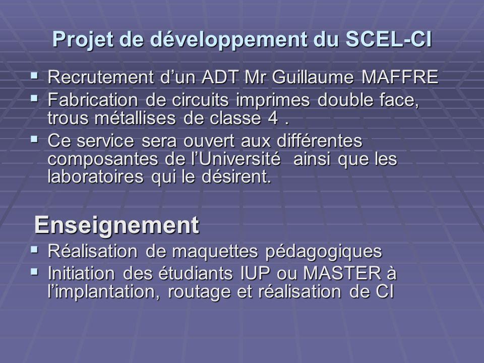 Projet de développement du SCEL-CI