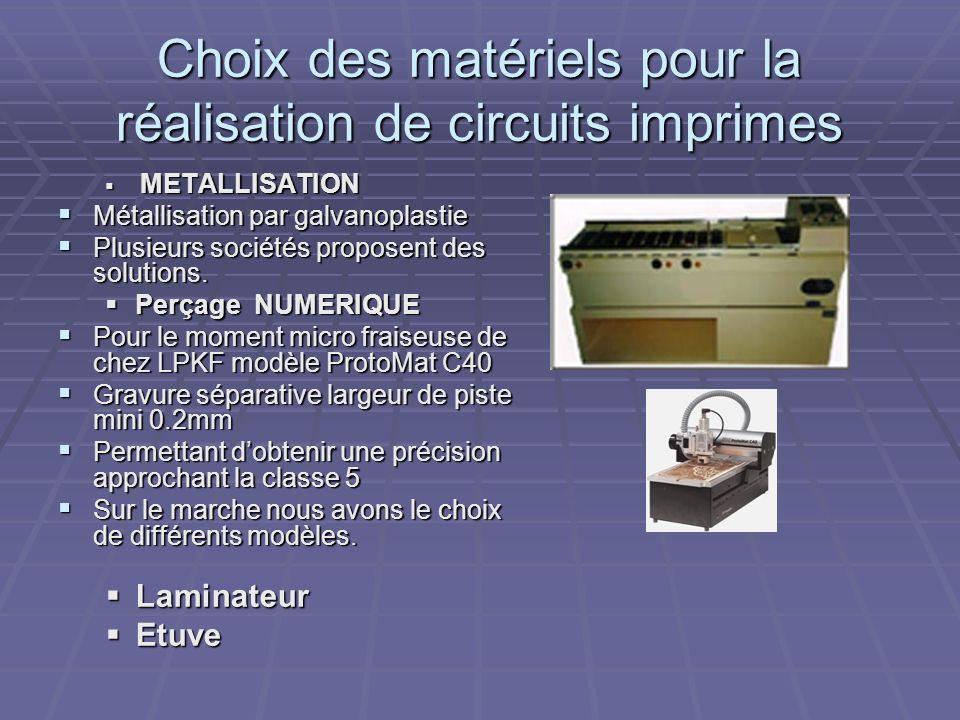 Choix des matériels pour la réalisation de circuits imprimes