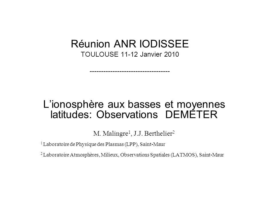 L'ionosphère aux basses et moyennes latitudes: Observations DEMETER