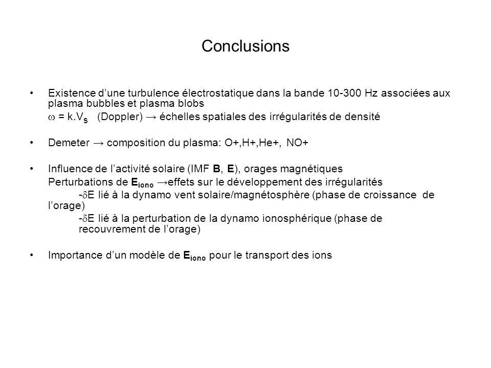 Conclusions Existence d'une turbulence électrostatique dans la bande 10-300 Hz associées aux plasma bubbles et plasma blobs.