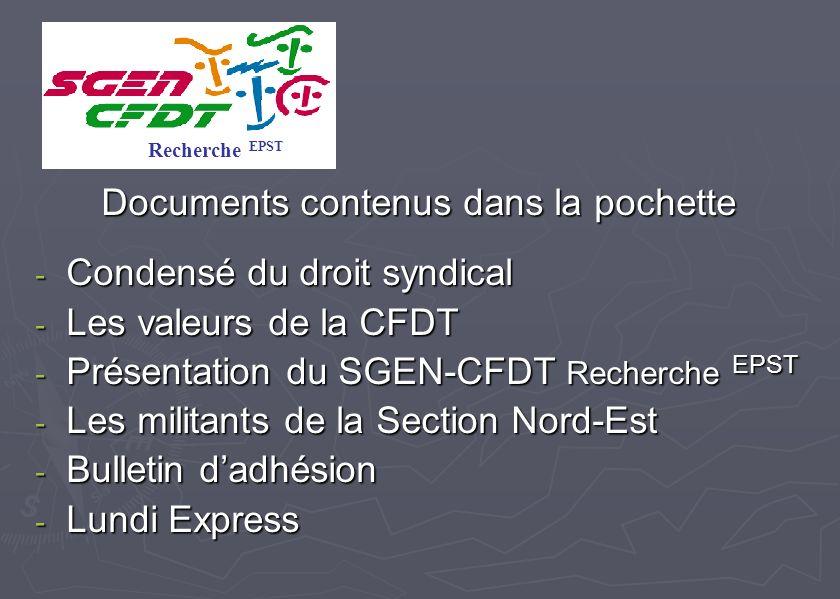 Documents contenus dans la pochette