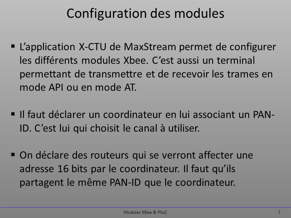 Configuration des modules