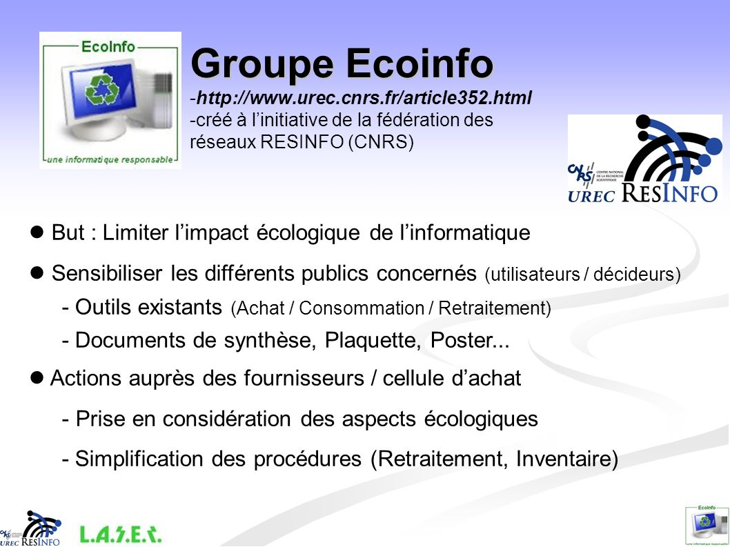 Groupe Ecoinfo -http://www. urec. cnrs. fr/article352