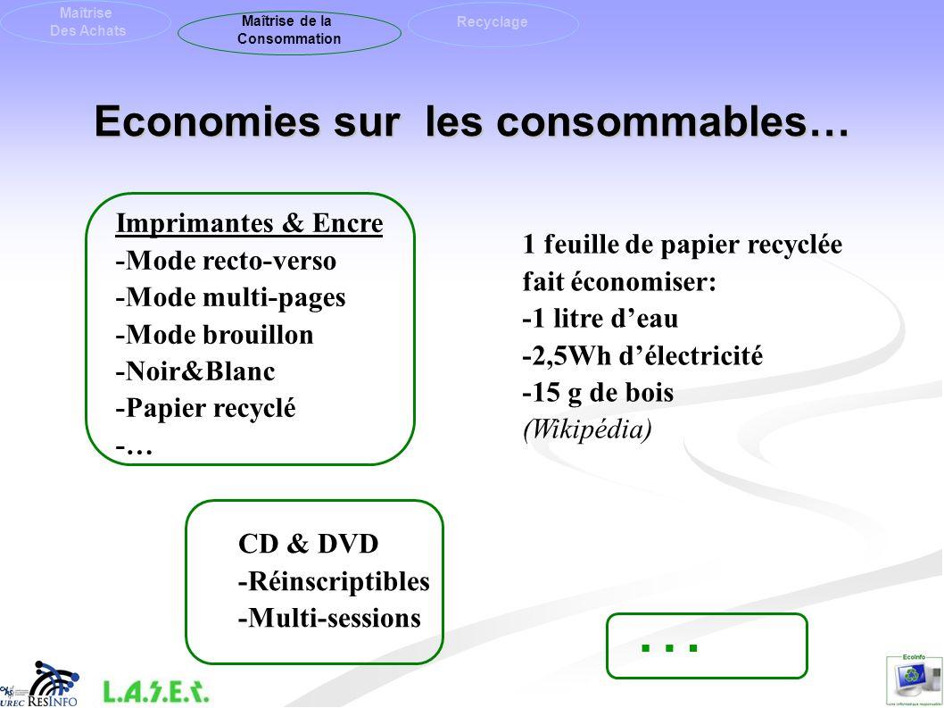 Economies sur les consommables…