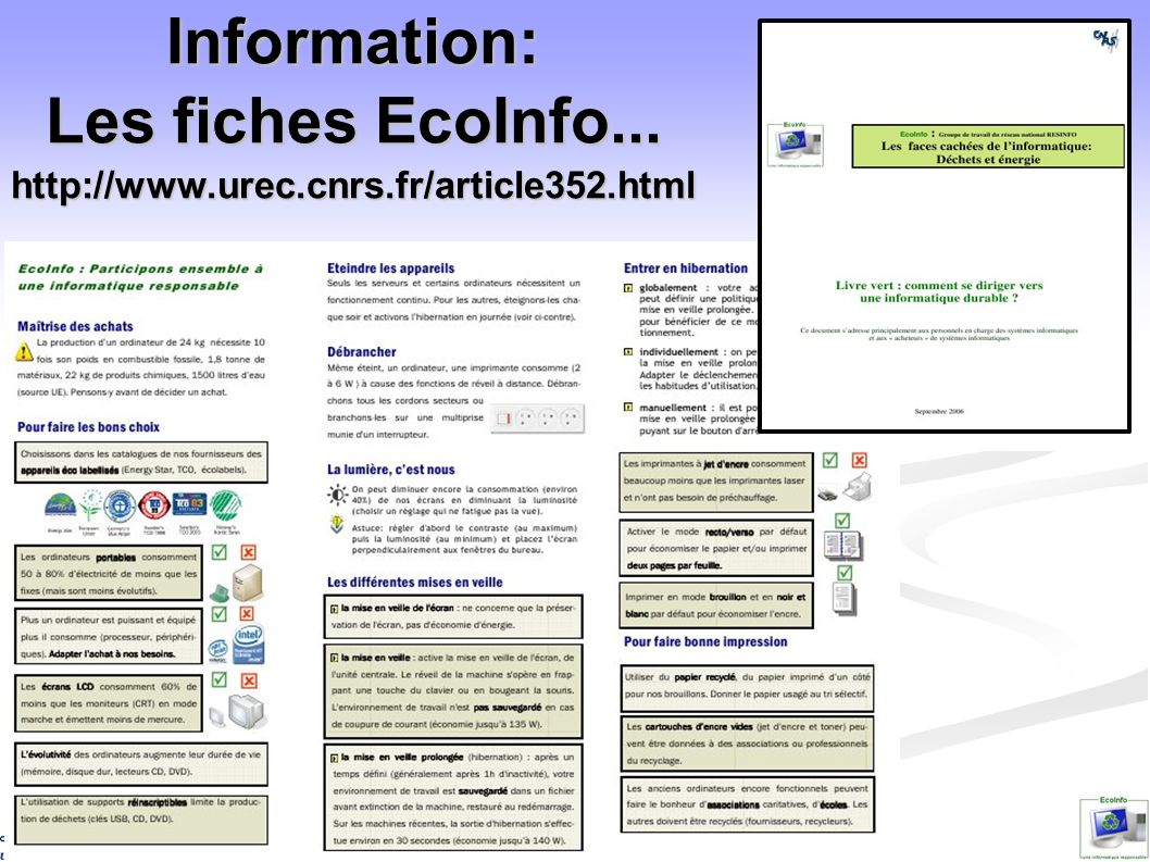 Information: Les fiches EcoInfo. http://www. urec. cnrs. fr/article352