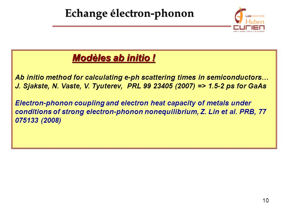 Echange électron-phonon