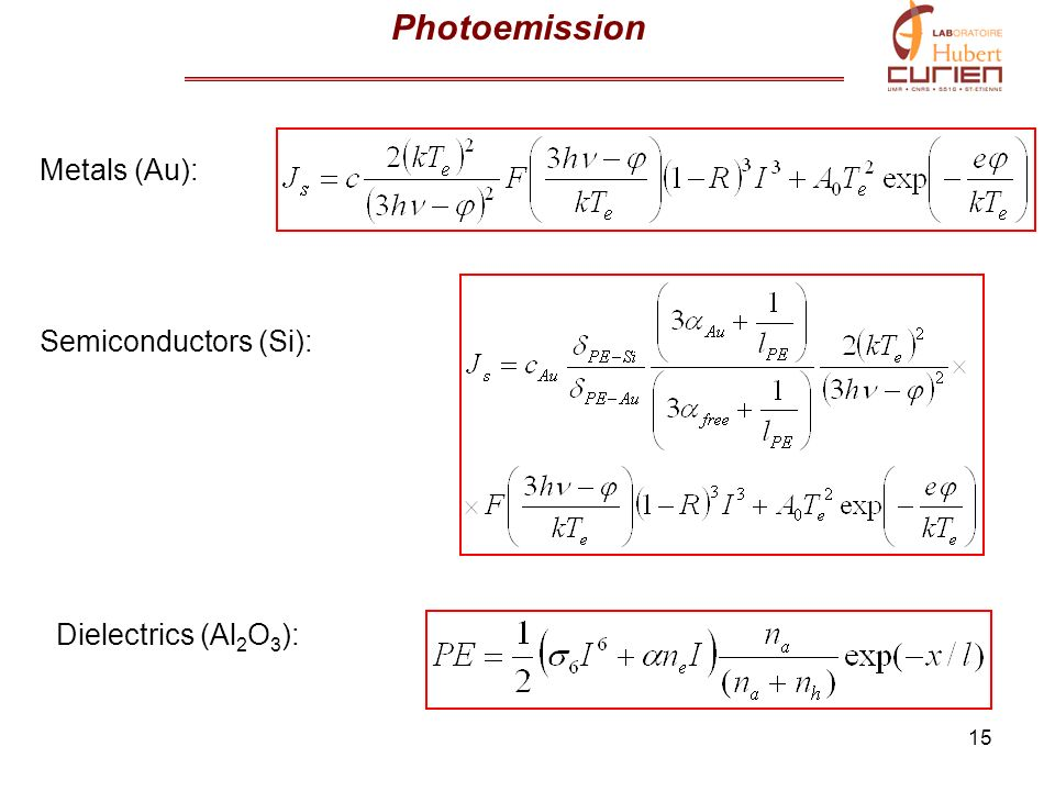 Photoemission Metals (Au): Semiconductors (Si): Dielectrics (Al2O3):