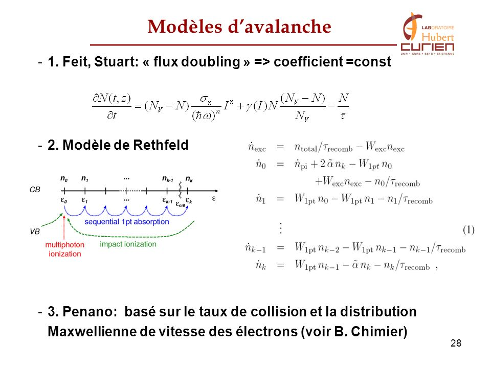Modèles d'avalanche 1. Feit, Stuart: « flux doubling » => coefficient =const. 2. Modèle de Rethfeld.
