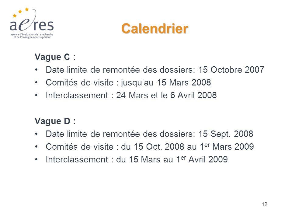 CalendrierVague C : Date limite de remontée des dossiers: 15 Octobre 2007. Comités de visite : jusqu'au 15 Mars 2008.