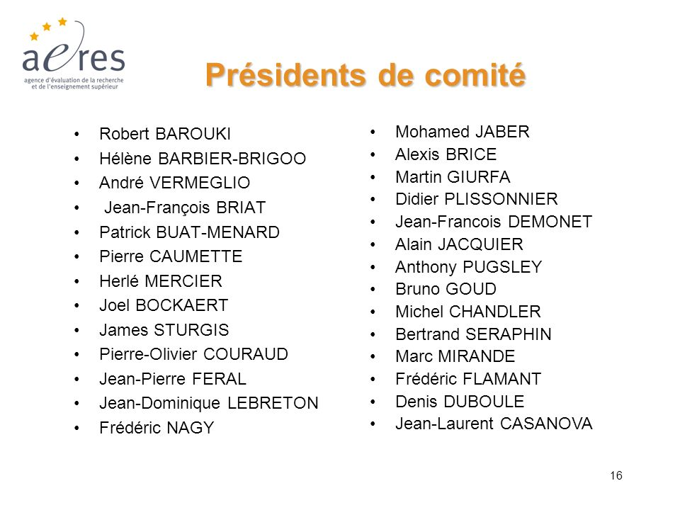 Présidents de comité Robert BAROUKI Hélène BARBIER-BRIGOO