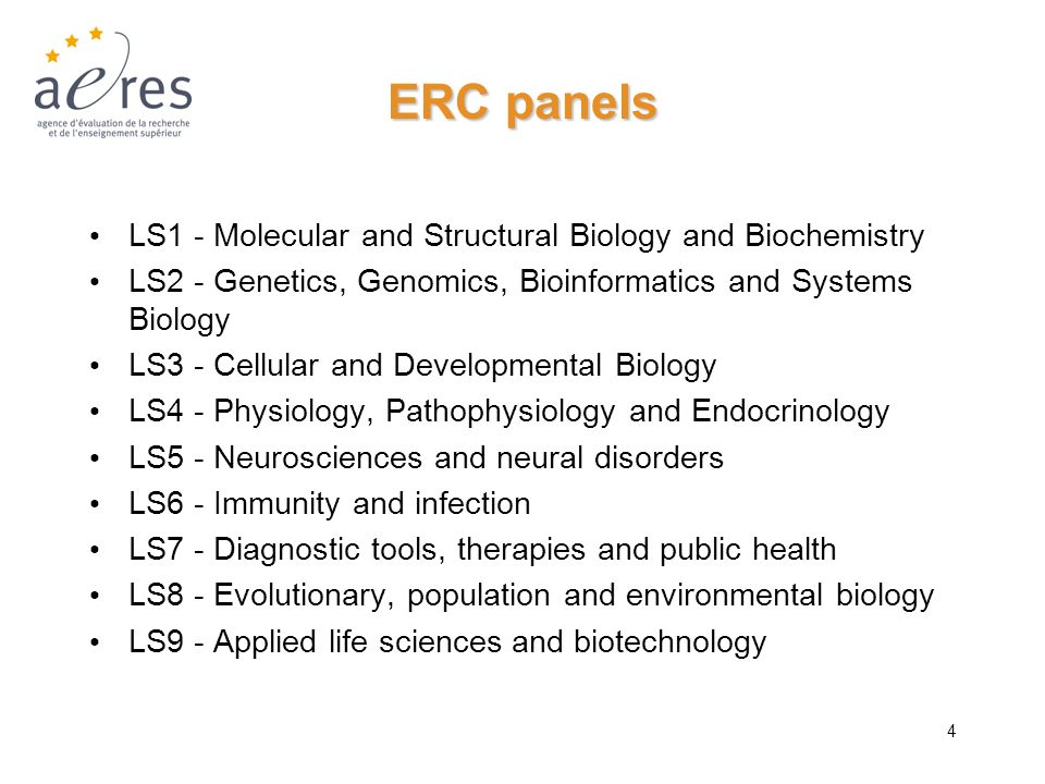 ERC panels LS1 - Molecular and Structural Biology and Biochemistry