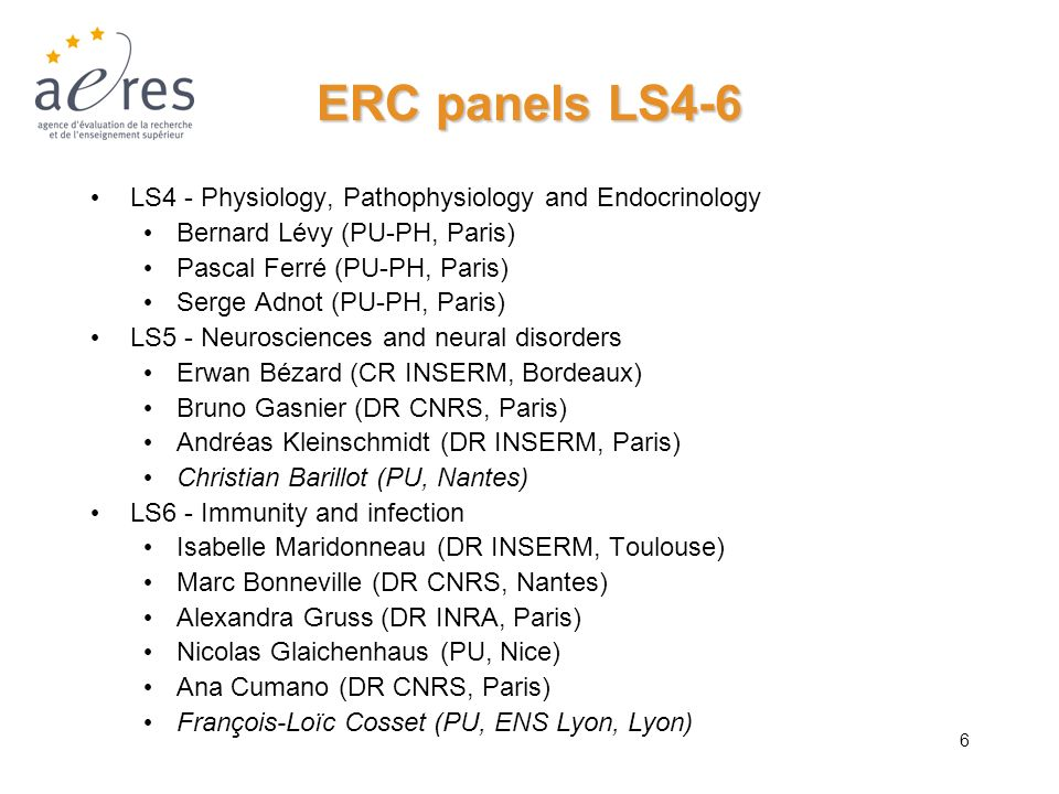 ERC panels LS4-6 LS4 - Physiology, Pathophysiology and Endocrinology