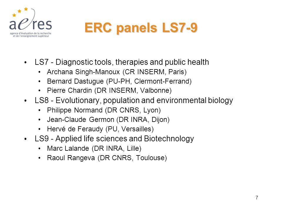 ERC panels LS7-9 LS7 - Diagnostic tools, therapies and public health