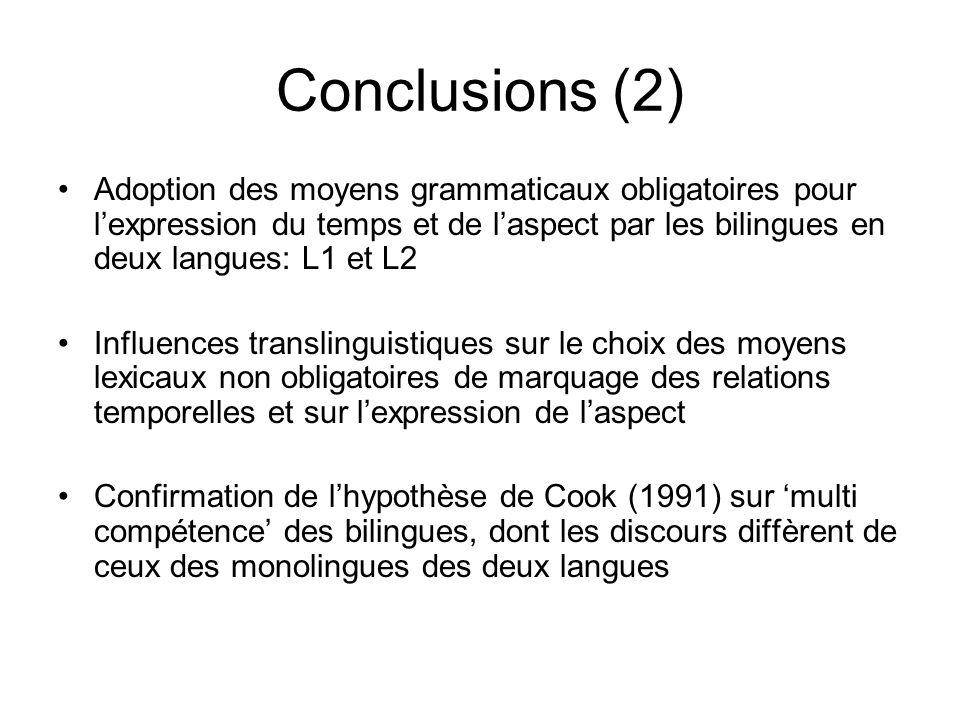 Conclusions (2) Adoption des moyens grammaticaux obligatoires pour l'expression du temps et de l'aspect par les bilingues en deux langues: L1 et L2.