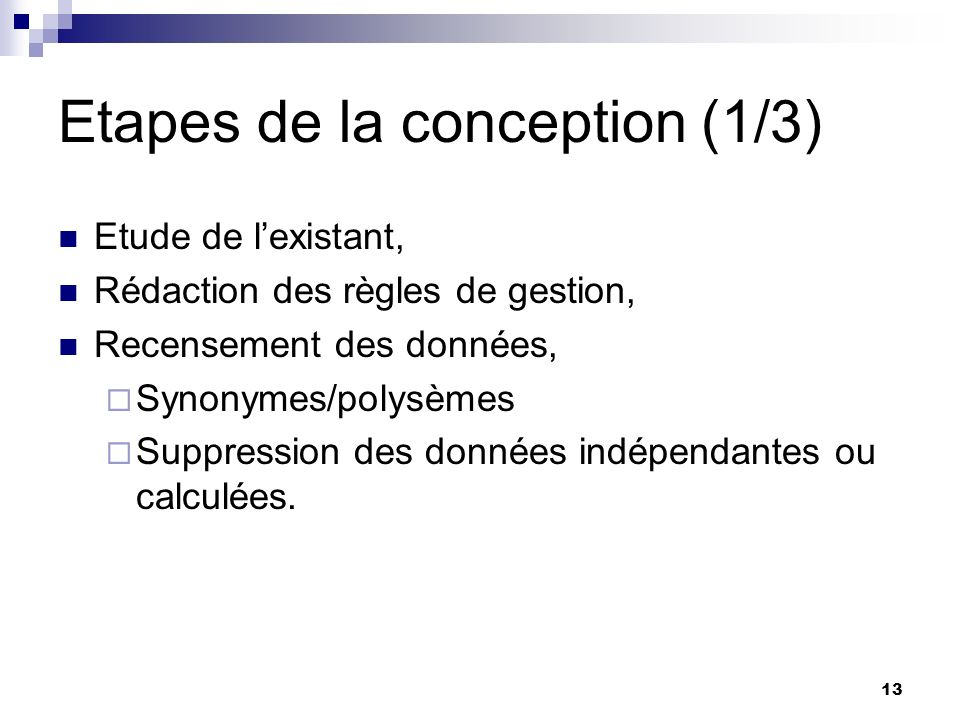 Etapes de la conception (1/3)