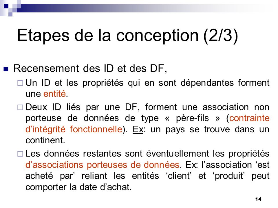 Etapes de la conception (2/3)