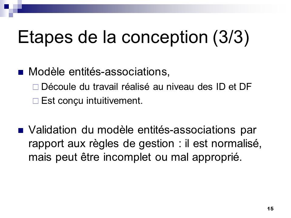 Etapes de la conception (3/3)