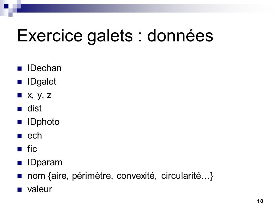 Exercice galets : données