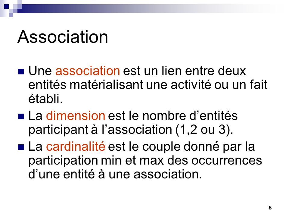 Association Une association est un lien entre deux entités matérialisant une activité ou un fait établi.