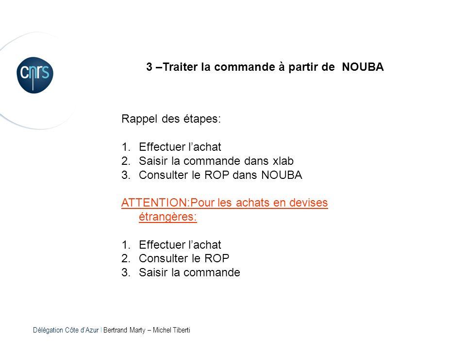 3 –Traiter la commande à partir de NOUBA