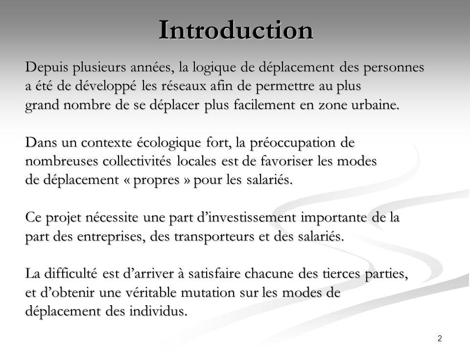 IntroductionDepuis plusieurs années, la logique de déplacement des personnes. a été de développé les réseaux afin de permettre au plus.